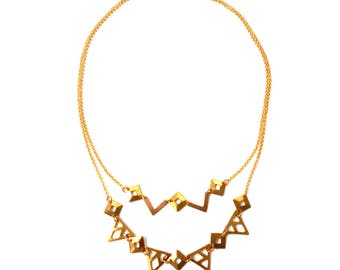 Graphic necklace double strand - adjustable - designer jewelry