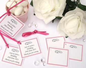 Personalised Wedding Gift Tags - Hot Pink - Pack of 10 tags