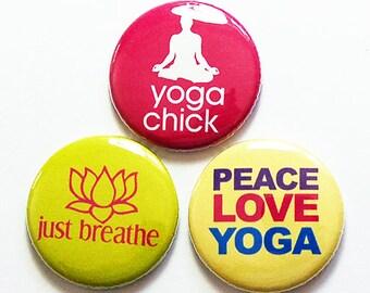 Yoga Magnet set, Yoga Studio, Magnet Trio, Yoga Magnets, Loves Yoga, stocking stuffer, Mothers Day Gift, Gift for her (8693)