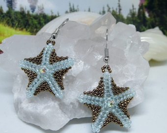 Brown Beaded Starfish Earrings for Ocean Lover, Beach Wedding Accessories, Sky Blue Beads, Handwoven Star Fish for Her, Present for Mom