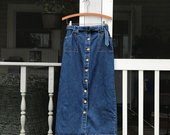High Waist Skirt Midi Blue Jean Skirt With Pockets Denim Skirt Casual Skirts Womens