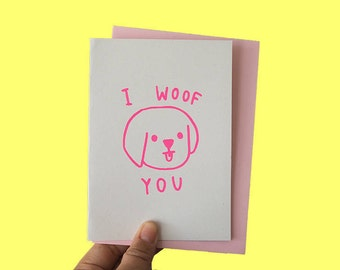 Cute Greeting Card, Dog Lover Card, Christmas Card, Cute Card, A6 Card, Love Card, I love you card, Dog Card, I woof you