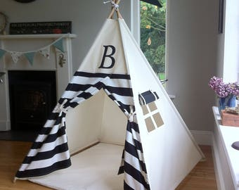 Teepee with Monogram. Black and White stripe tepee, Wigwam, Play tent. Poles included! Large tipi / tepee for kids.