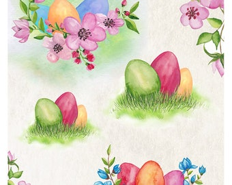 Easter Decoupage Rice Paper Sheets A4 Size Easter decor,Easter eggs, spring flowers (No. 56)
