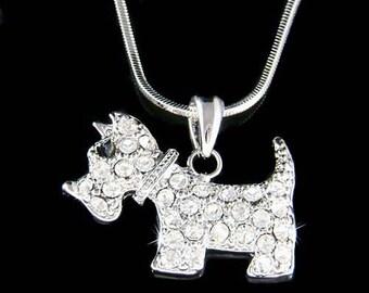 Swarovski Crystal WESTIE SCOTTISH Scottie DOG Puppy Pendant Chain Necklace Christmas Best Friend Gift New