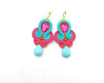 Dangle Drop Earrings, Soutache Earrings, Turquoise Earrings, Pink Earrings, Drop Earrings, Dangle Earrings