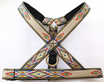 Native American dog harness for puppy / small / medium dog. Woven no choke adjustable harness, tribal/ western style