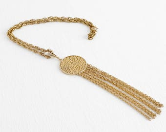 Vintage 1960s Round Gold Medallion Necklace with Hanging Chains