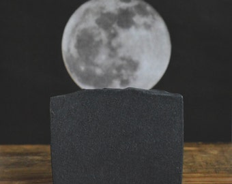 Unscented Charcoal Soap | Midnight Soap | Fragrance Free Soap Bar, Activated Bamboo Charcoal Soap, All Natural Homemade Cold Process Soap