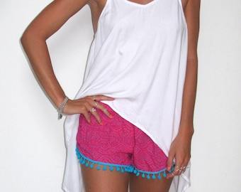 Pom Pom Shorts - Hot Pink & Cobalt Dot Print with Large Aqua Pom Pom's- Beach Shorts