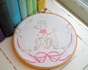 Embroidered Poodle Butterfly & Pink Bow Hoop Art / Wall Art, Vintage 1950s Dog Pattern Hand Stitched Embroidery Textile / Fiber Art Gift