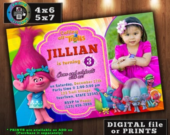 TROLLS Birthday Invitation, Poppy Invitation,Personalized, CUSTOM Digital File, Prints, Any age, With Photo (D#3)