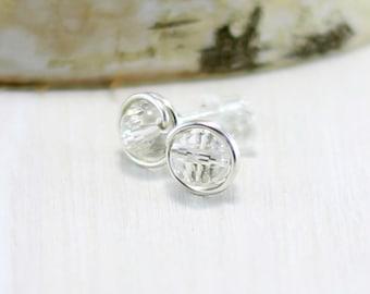 Crystal Earrings, Sterling Silver Crystal Quartz Stud Earrings Wire Wrapped Clear Gemstone Post Earrings Crystal Jewelry