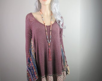 Boho Lagenlook Tunic Loose Fit Flowing Knit Raspberry with Multi-Color Prints Funky Hippie One Size Fits S - XL