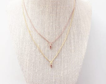 Tiny Spike Necklace || Rose Gold Spike Necklace, Gold Spike Necklace, Delicate Necklace, Layer Necklace, Bullet Necklace, Minimalist Jewelry