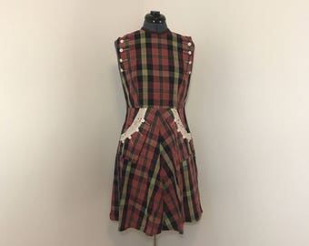 1950s plaid day dress