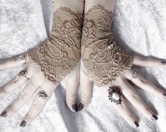 Cyzarine Lace Fingerless Glove Mittens   Gold Champagne Tan Floral   Gothic Vampire Victorian Wedding Belly Dance Goth Bridal Mori Girl Ecru