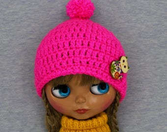 Bright Pink Blythe hat with wooden cat button