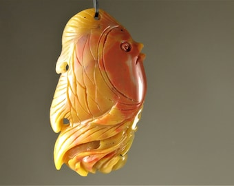 So Adorable ~ Vividly Carved Fish Agate Pendant - 46mm x 25mm x 10mm - B6929