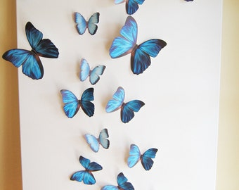 18 Butterflies, Blue, Something Blue, Butterfly, Paper, Wall Decor, 3D, Nursery, Baby, Wedding, Baby Shower, Girls Room, Cardstock