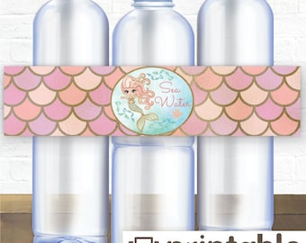 Printable Water Bottle Labels / Mermaid Water Bottle Labels / Mermaid Party Printables / Sea Water << Instant Download >>