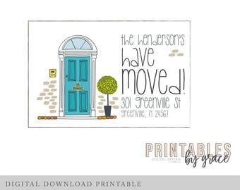 DIGITAL ANNOUNCEMENT custom New Home House Warming Moving Postcard pdf invite printable download