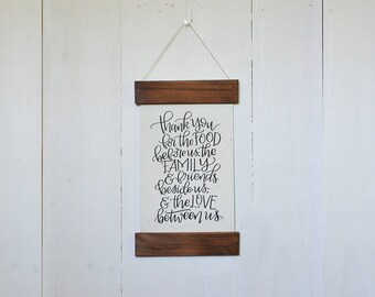 Wood Frame Family Prayer - Calligraphy Wall Art - Home Decor - Wall Art for Home - Give Thanks