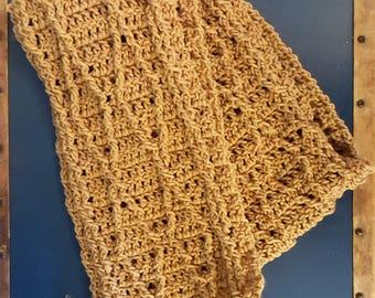 Handmade Crochet Scarf, Cable Scarf Tan