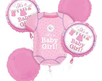 Shower With Love Girl Balloon Bouquet - Assorted Foil - welcome new baby - brand new girl - mummy to be