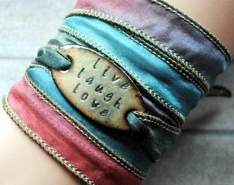 Silk wrap bracelet,  silk ribbon bracelet ,boho wrap,LIVE LAUGH LOVE ,Handdyed,enameled copper,yoga,ruban de soie,Seidenband