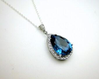 wedding jewelry bridal bridesmaid necklace prom gift pageant sterling silver necklace navy sapphire denim blue teardrop swarovski pendant