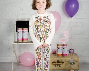 IceKream Kitty  Colour In Pyjamas With Fabric Pens