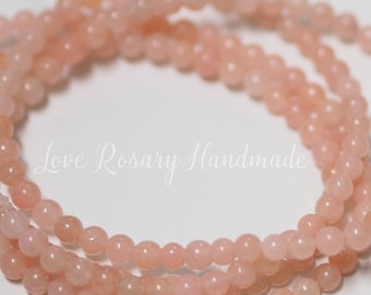 4 MM Rose Quartz Beads - 15 inches full stand - Round shape