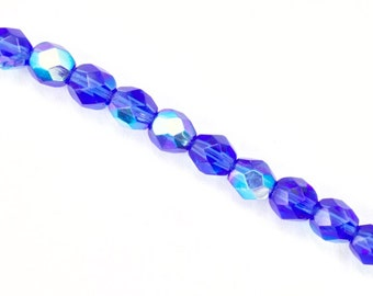 6mm Transparent Sapphire AB Fire Polished Bead (25 Pcs)  #GBD073