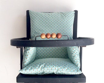 High Chair, coated canvas, turquoise fan pillow / Chair baby