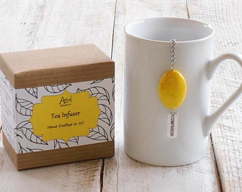 Doctor Who, Tea Infuser, Companion, Yellow Magnesite, Charmed Infuser, Timey Wimey, Geek Tea Gift, Wibbly Wobbly Tea, Under 10 Dollar Gift