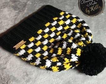 Crcohet Plaid Slouchy Hat