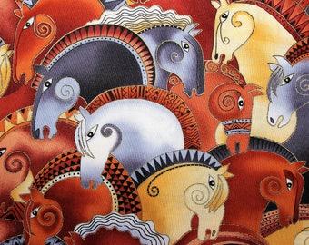 Laurel Burch Rare Oop EMBRACING HORSES Large Horse Heads Fabric - BTHY