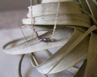 Minimalist three bead necklace in smoke gray