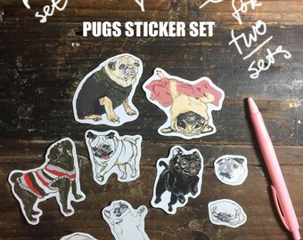 Claartje van Swaaij loves Pugs sticker set (10 stickers)
