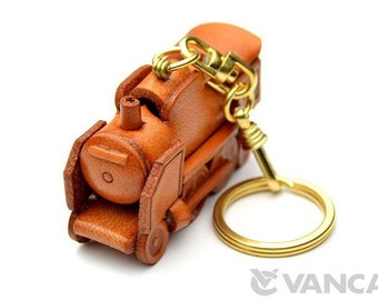 Steam Locomotive 3D Leather (L) Keychain *VANCA* Made in Japan #56194 Free Shipping