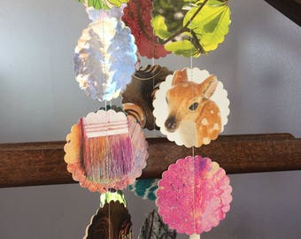 Colorful repurposed paper garland, nursery decor, photo backdrop, unique interior decoration