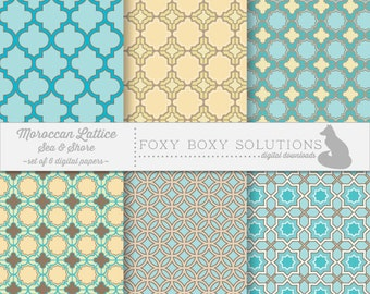 Moroccan Lattice: Sea & Shore, Digital Papers, set of 6