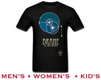 Tycho Brahe Astronomy TShirt. Rock Star Scientist Shirt, Solar System Tychonian Model, Scientific Illustration, Teacher Gift, Geek Present