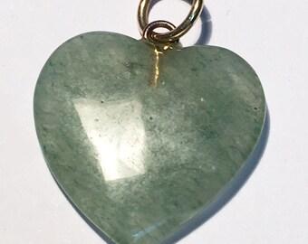 Vintage Chalcedony Quartz heart shaped pendant