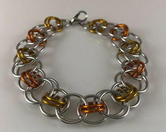 Sale 25% off Orange Yellow and Silver Helm Chain Chainmaille Bracelet