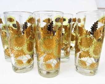 Vintage Tom Collins | Gold Chrysanthemum Bar Glasses | High Ball Glasses | Bartlett Collins Glasses | Hollywood Regency | Set of 8 | As Is