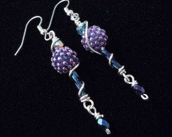 Lavender, Beaded Bead Earrings, Long Dangle Earrings, Seed Bead Earrings, Casual Earrings, Jeans Earrings