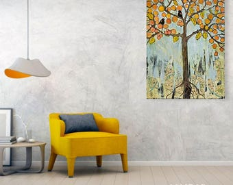 Wall Decor Canvas Print Extra Large Wall Art | Rustic Home Decor | Gift for Couple | Tree of Life Love Birds Rustic Wedding | Ready to Hang