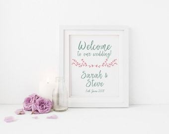 Sweet Welcome to our Wedding Printable Sign - wedding welcome card, framed print, welcome sign - printable